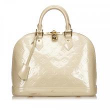 Louis Vuitton Off White Pearl Vernis Monogram Alma PM Handbag
