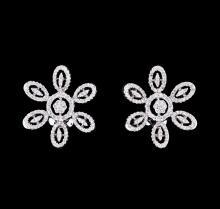 0.99 ctw Diamond Flower Burst Earrings - 18KT White Gold