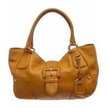Prada Mustard Yellow Pebbled Leather Double Handle Shoulder Bag