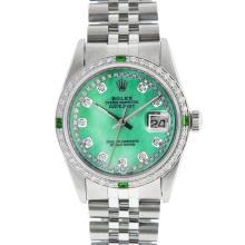 Rolex Mens SS Green MOP String Diamond & Emerald Datejust Wristwatch