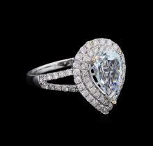 1.71 ctw Aquamarine and Diamond Ring - 14KT White Gold
