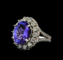 6.00 ctw Tanzanite and Diamond Ring - 14KT White Gold
