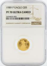 1989-P NGC PF 70 Ultra Cameo $5 American Eagle Gold Coin