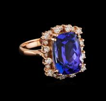 7.20 ctw Tanzanite and Diamond Ring - 14KT Rose Gold