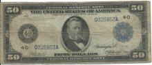 1914 $50 VG Federal Reserve Note