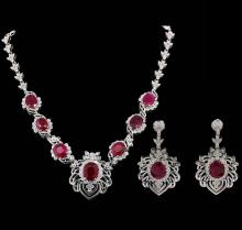 GIA Cert 49.70 ctw Ruby and Diamond Suite - 18KT White Gold