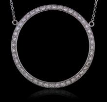 14KT White Gold 0.94 ctw Diamond Pendant With Chain