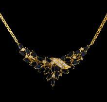 11.70 ctw Sapphire Ensemble - 14KT Yellow Gold