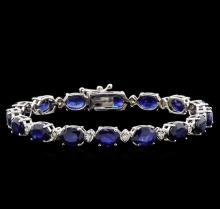 22.71 ctw Blue Sapphire and Diamond Bracelet - 14KT White Gold