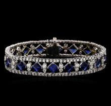 18KT White Gold 16.40 ctw Sapphire and Diamond Bracelet
