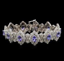 14KT White Gold 7.92 ctw Tanzanite and Diamond Bracelet