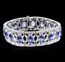 14KT White Gold 21.12 ctw Tanzanite and Diamond Bracelet