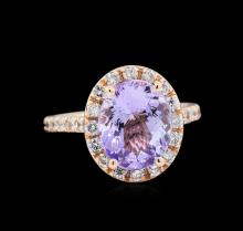 3.63 ctw Tanzanite and Diamond Ring - 14KT Rose Gold