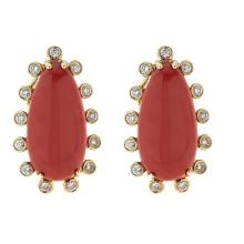 9.07 ctw Coral and Diamond Earrings - 14KT Yellow Gold