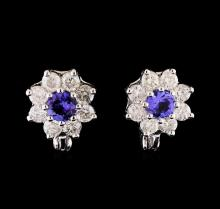 14KT White Gold 1.08 ctw Tanzanite and Diamond Earrings