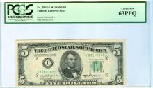 1950B PCGS CN 63PPQ $5 Federal Reserve Star Bank Note