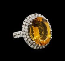 14KT White Gold 11.62 ctw Citrine and Diamond Ring