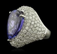 14KT White Gold 14.82 ctw GIA Certified Tanzanite and Diamond Ring