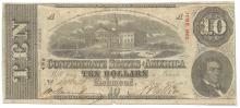 1863 $10 The Confederate States of America Note T-59 CC