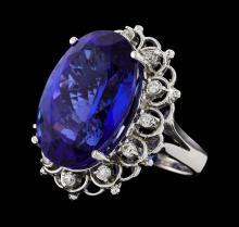 GIA Cert 28.19 ctw Tanzanite and Diamond Ring - 14KT White Gold