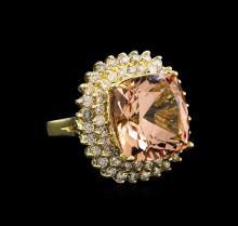 13.71 ctw Morganite and Diamond Ring - 14KT Yellow Gold