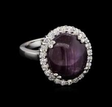 14.50 ctw Star Ruby and Diamond Ring - 14KT White Gold
