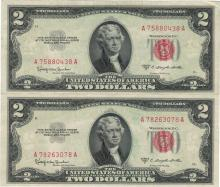 1953 $2 AU Uncirculated Certificate Currency Lot of 2