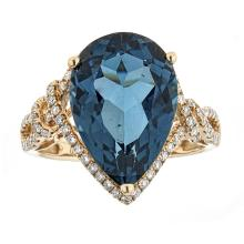 8.90 ctw Topaz and Diamond Ring - 14KT Yellow Gold