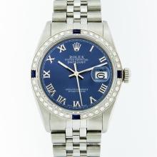 Rolex Stainless Steel Roman and Sapphire Diamond DateJust Men's Watch