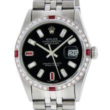 Rolex Mens SS Black Baguette Diamond And Ruby Datejust Wristwatch