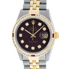 Rolex Two-Tone 1.30 ctw Diamond and Ruby DateJust Men's Watch