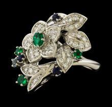 0.56 ctw Diamond, Emerald and Sapphire Ring - Platinum