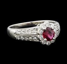 0.37 ctw Ruby and Diamond Ring - Platinum