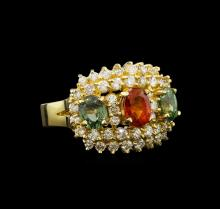 14KT Yellow Gold 3.32 ctw Sapphire and Diamond Ring