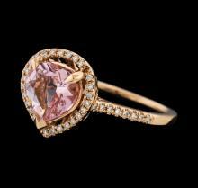 1.39 ctw Morganite and Diamond Ring - 14KT Rose Gold
