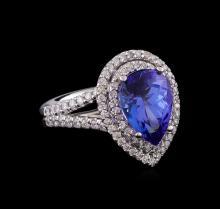 14KT White Gold 3.89 ctw Tanzanite and Diamond Ring