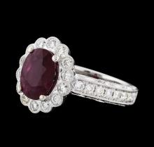 2.49 ctw Ruby and Diamond Ring - 14KT White Gold