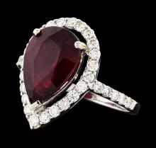 5.35 ctw Ruby and Diamond Ring - 14KT White Gold