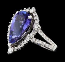 4.16 ctw Tanzanite and Diamond Ring - 14KT White Gold