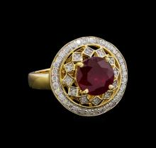 3.77 ctw Ruby and Diamond Ring - 14KT Yellow Gold