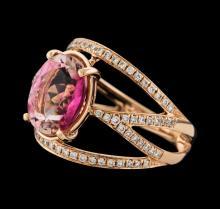 3.45 ctw Tourmaline and Diamond Ring - 14KT Rose Gold
