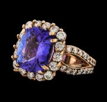 5.52 ctw Tanzanite and Diamond Ring - 14KT Rose Gold