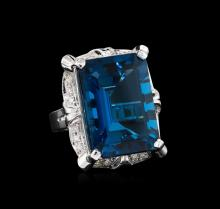 34.56 ctw Blue Topaz and Diamond Ring - 14KT White Gold