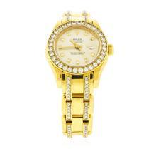 Rolex 18KT Gold 4.00 ctw Diamond Masterpiece Pearlmaster Ladies Watch
