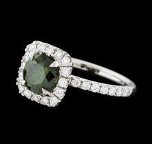 1.88 ctw Green Diamond Ring - 14KT White Gold
