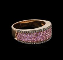 1.08 ctw Pink Sapphire and Diamond Ring - 14KT Rose Gold