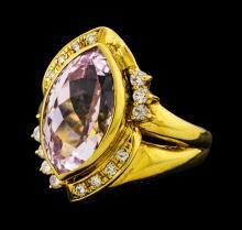 6.92 ctw Kunzite and Diamond Ring - 18KT Yellow Gold
