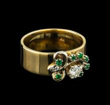 0.34 ctw Diamond and Emerald Ring - 14KT Rose Gold