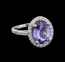 4.6 ctw Tanzanite and Diamond Ring - 14KT White Gold