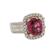 4.58 ctw Red Spinel and Diamond Ring - 14KT White Gold